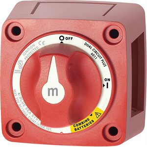 M-SERIES MINI DUAL CIRCUIT PLUS BATTERY SWITCH - RED