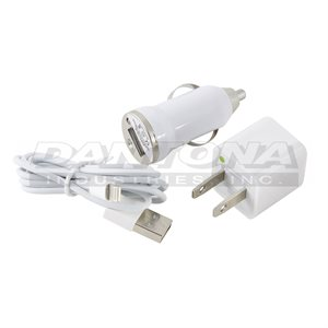 KIT CHARGEUR CELL 3 EN 1 IPHONE 5 / 6 BLANC